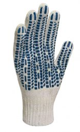 Перчатки х/б трикотажные 5 нит. с ПВХ (протектор) 10 кл. (по 10,200)